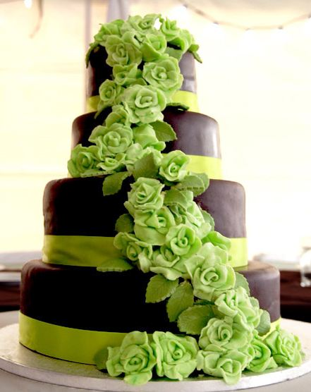 Green And Black Wedding Cakes - Wedding Cake Flavors