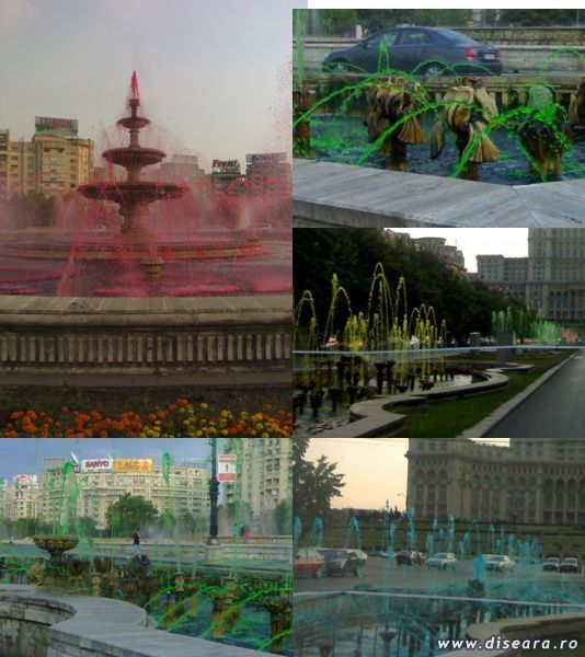 The coloured artesian wells from the Bucharest Unirii Plaza - art or kitsch ? We wait your comments.